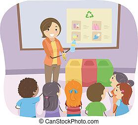 lección, reciclaje