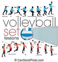 lecciones, conjunto, voleibol
