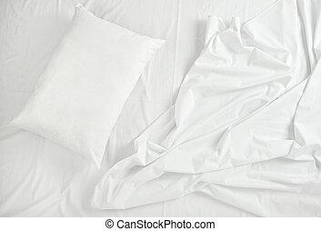 lecho, sueño, hojas, cama, almohada