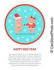 Lechones macho y hembra, año nuevo o navidad