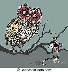 Lechuza y ratón. Ilustración cartulina.