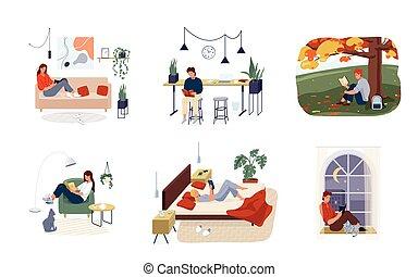 lector, aislado, hogar, fondo., cómodo, illustration., abajo, cómodo, otoño, interior, conjunto, sentado, al aire libre, escena, hombres, acostado, o, white., libros, vector, gente, mujeres, leer la lectura, literatura