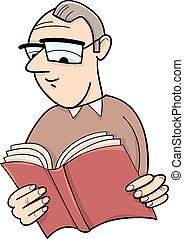 Lector con ilustración de dibujos animados