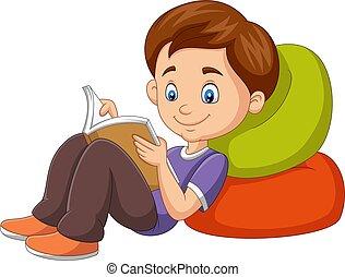 lectura, caricatura, libro, niño