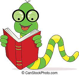 lectura, feliz, libro, gusano