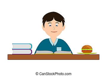 lectura, hamburguesa, niño