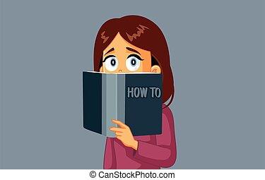 lectura, mujer, cómo, manual