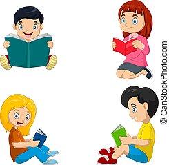 lectura, niños, libros, grupo