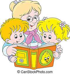 lectura, nietos, abuelita