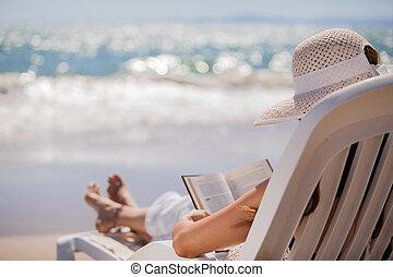 lectura, playa, relajante