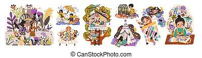 lectura, tales., imagination., caracteres, refugio, niños, edificio, vector, infantil, mundo, plano, niñez, niños, ilustraciones, juegos, juego, dibujo, set., caricatura, sueños, hada, activities.