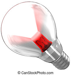 LED emitiendo un rayo de luz dentro de una bombilla