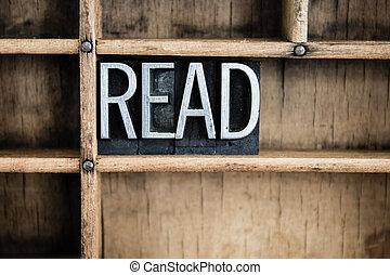 Lee el concepto de letra metálica en el cajón