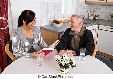lee, mujer, anciano, book.