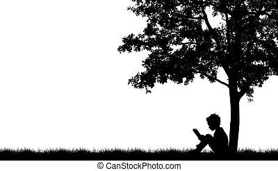 leer, árbol, siluetas, libro, debajo, niños