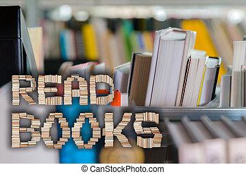 leer, libros, cartas, joven, libro de la biblioteca, estudiante, escoger, estante, fondo.