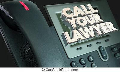 legal, ayuda, abogado, pleito, sue, llamada, su, teléfono, ilustración, 3d