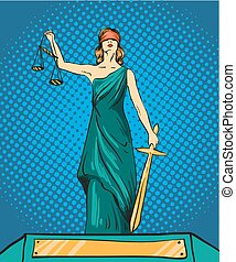 legal, balance, ley, vector, justicia, femida, dios, concepto, cómico, themis., style., sword., retro, taponazo, estatua, ilustración, arte
