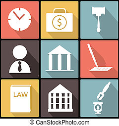 Legal, legal y icono de la justicia establecido en Diseño Plano