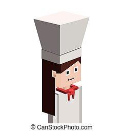 Lego silueta con mitad cuerpo femenino chef