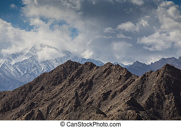 leh, montaña, india, nieve, gama