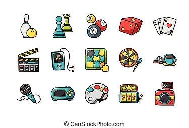 Leisure y iconos de hobby establecidos,eps10