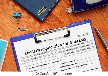lender's, garantía, sba, forma, aplicación, 1920