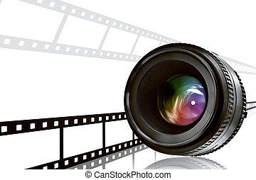 Lens  ⁇  film strip on white