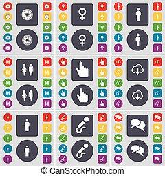 Lens, símbolo venus, silueta, mano, nube, micrófono, símbolo del icono del chat. Un gran conjunto de botones planos y de colores para su diseño. Vector