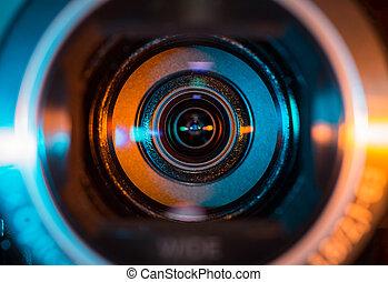 lente, cámara, vídeo