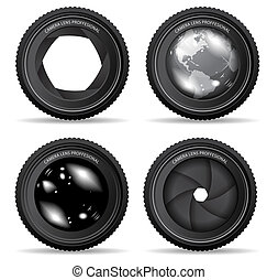 lente, cámara, vector, ilustración