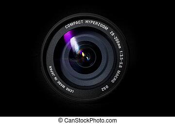 lente, cámara, zumbido
