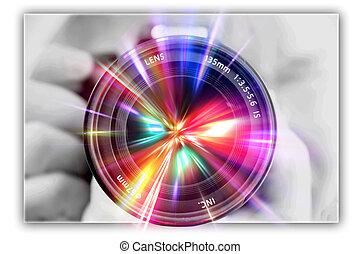 lente, fotógrafo, el fotografiar, manos