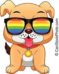 lentes, inglés, caricatura, llevando, bulldog