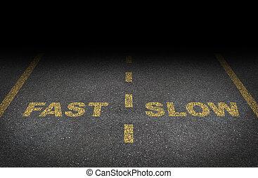 lento, carriles, rápido