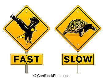 lento, rápido, señal