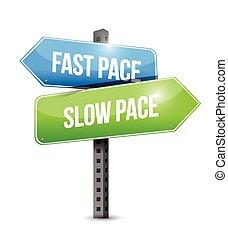 lento, rápido, señal, paso, ilustración, camino