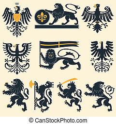 Leones heráldicos y águilas