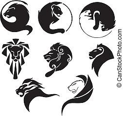 Leones negros estilizados