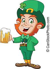 Leprechaun con cerveza