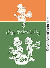 Leprechaun saludando feliz día de St. Patrick