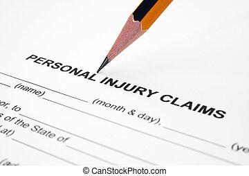 lesión, reclamo, personal