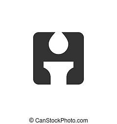 Letra H logo, velas o antorchas, en blanco y negro, aislada en fondo blanco, diseño de ilustración vectorial