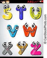 Letras cómicas alfabeto ilustración de dibujos animados