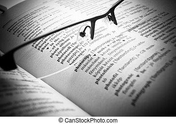 Letras de diccionario abiertas, cierra