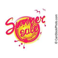 Letras de verano sobre el sol abstracto pintada