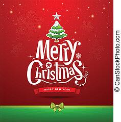 letras, diseño, navidad, alegre