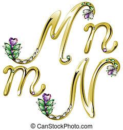 Letras doradas letras M,N
