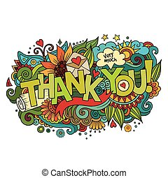 letras, elementos, agradecer, mano, plano de fondo, doodles, usted