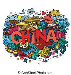 letras, elementos, enfermo, mano, fondo., vector, china, doodles